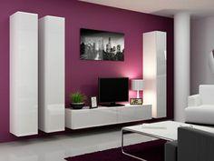 table de tv violet mur violet salon beau meuble laqu - Cuisine Blanc Mur Fushia