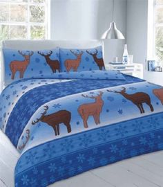 Fawn Stag Blue Printed Duvet Quilt Cover Bedding Set — Linens Range Unique  Duvet Covers 0fe236c62