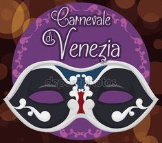 Elegant Colombina Mask over a Bokeh Background for Venice Carnival