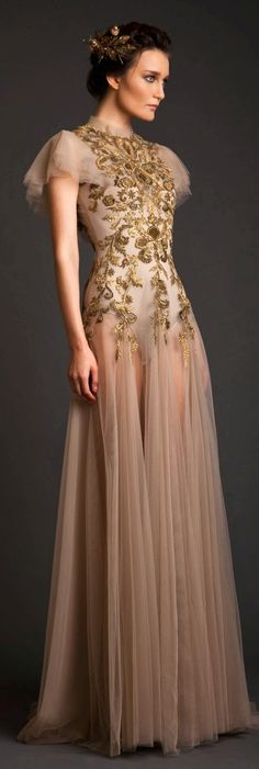 contemporary womens fashion evening Dress pale mauve gown with embroidery feminine flow  Krikor Jabotian Akhtamar Collection Spring Summer 2014