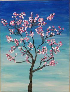 Spring tree painting for kids 28 ideas Cherry Blossom Art, Blossom Trees, Arte Elemental, Classe D'art, Fingerprint Art, Spring Art Projects, Spring Tree, Art Classroom, Classroom Projects