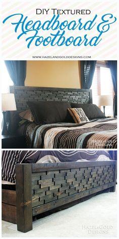 DIY headboard and footboard, bedroom decor, DIY furniture, woodworking, textured headboard, wood shim projects