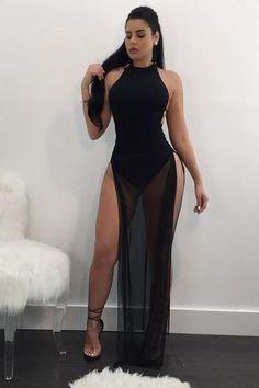Bear Shoulder Pure Color Splint Long Mesh Dress