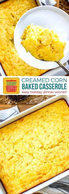 Baked Creamed Corn Casserole is easy to make with just a few ingredients & very little prep. This sweet and creamy Corn Casserole is richer & tastier and perfect for all your special occasions such as Christmas dinner and Thanksgiving dinner via Baked Creamed Corn Casserole, Creamy Corn Casserole, Easy Casserole Recipes, Casserole Dishes, Corn Cassarole, Creamed Corn Cornbread, Casserole Ideas, Cornbread Casserole, Vegetable Dishes