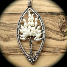 Tree of life necklace Pearl necklace Wire by Weaversfield