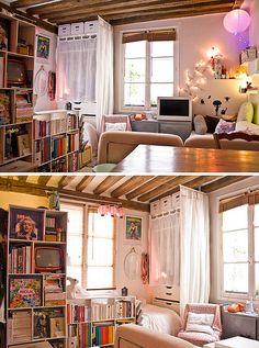 Tiny Paris Apartment = Love all the ideas .   but needs color cohesion to work for Jetson Tower