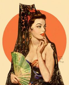 vintage pinup by Henry Clive ~ This is a Hollywood version of Lola Montez. She was a dancer and lived during the period of 1821 - 1861 art woman spanish dancer Pin Up Vintage, Art Vintage, Vintage Artwork, Vintage Illustrations, Spanish Dancer, Spanish Woman, Veronica Lake, Pin Up Girls, Hot Girls