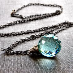Etsy Sea Foam Green Leaded Crystal Onion Prism Antiqued Brass Necklace - Memento for $59.65 at etsy.com