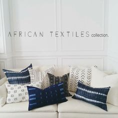 African textile from Ghana. Traditional shibori patterns are hand dyed in one of a kind patterns in deep navy and white.  15 x 25 lumbar. Organic, unbleached linen back. Hidden zipper closure. Down fill insert included.  www.shopMindaHome.com Follow @MindaHome on Instagram for exclusive sales and new product updates.