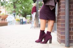 Burgundy suede booties, block heels