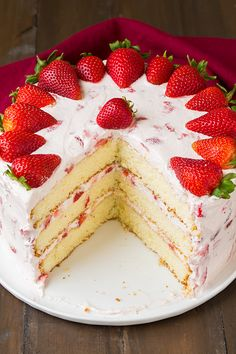 Fresh Strawberry Cake - Creamy, Dreamy, Heavenly Cake! From Cooking Classy