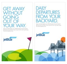 jetBlue - impactful headline, well-considered white space, image as footer / anchor