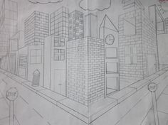 How to draw a cityscape in 2 pt perspective