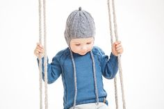 Blue baby sweater / Hand knit alpaca baby pullover / от GeraBloga