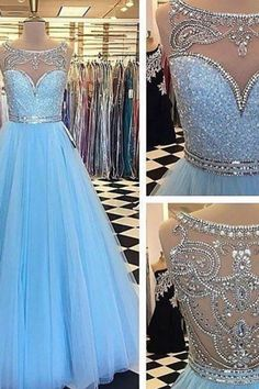 2019 New Arrival Tulle Scoop With Applique And Beaded Bodice Prom Dresses A Line Zipper Up