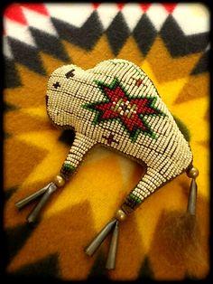 """""""White Buffalo"""" beaded amulet"""