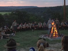 Closing campfire at Worth Ranch at Sunset