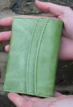 Meirn apple green leather flapover wallet