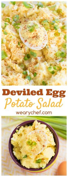 Dive into this scrumptious deviled egg potato salad - a perfect summer side dish! via @wearychef