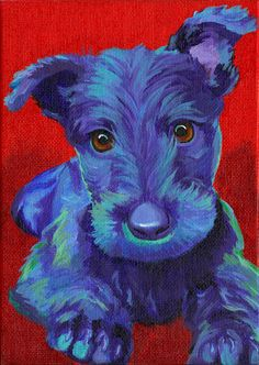 Original Scottish Terrier Print This listing is for a PRINT of an original dog painting that I have done. Printed on acid free paper ready Scottish Terrier, Illustrations, Illustration Art, Pop Art, Paint Your Pet, Raining Cats And Dogs, Colorful Animals, Pastel, Dog Portraits