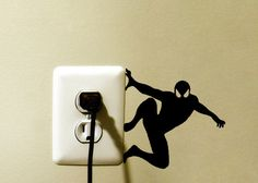 Spider Man Light Switch Vinyl Decal Sticker Home Decor Marvel Spiderman Light Switch Vinyl Decal Sticker! Available in many sizes and colors selected from the drop down menu. Phone size decals now sel Wall Painting Decor, Wall Art, Creative Wall Painting, Paint Decor, Wall Stickers, Vinyl Decals, Disney Wall Decals, Marvel Lights, Creative Home
