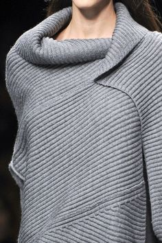 .FRANCY KALI Grey Panelled Sweater - chic knitwear; close up fashion details