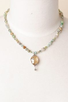 Mint Julep - This unique handmade pewter and silver gemstone necklace features a crystal focal and is adjustable.