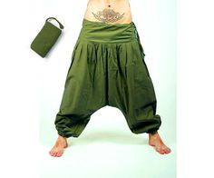 Harem Pants. Plain Color Aladdin pants known as Harem or Afghani trousers are very comfy.    Harem Pants are made of fabric pleasant to the touch.