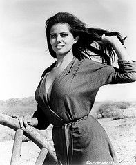 Publicity still of lead actress Claudia Cardinale on the set of the 1966 Richard Brooks Western, The Professionals. Her turn as Maria Grant in the film remains one of her most well known and recognizable roles.