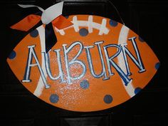 Auburn orange  polka dot football door decor wall hanging porch sign