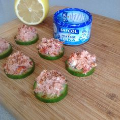 Absolutely obsessed with this snack at the moment! High in protein, low in carbs. Slices of cucumber topped with: 1 can tuna, 2 tablespoons of low fat cottage cheese, 5 semi sundried tomatoes diced, diced purple onion salt, pepper and 1/4 lemon squeezed! Sprinkled with paprika.
