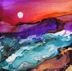 """Dreamscape No. 101"" - alcohol ink - © June Rollins - www.dailypaintworks.com/Artists/june-rollins-2454"