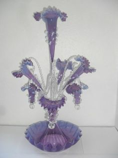 Victorian Amethyst And Opaline Glass Epergne With Spiral Stems Holding The Hanging Baskets, Flutes And Large Centerpiece Flute With Ruffled Base - England  -  eBay