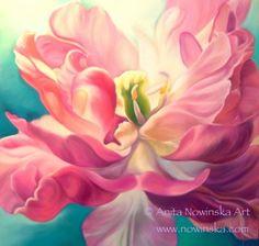 First Crush by Anita Nowinska Www.nowinska.co.uk Pink double tulip, original painting, flower, art