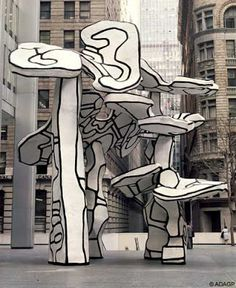 Jean Dubuffet - Groupe de 4 arbres, epoxy resin with polyurethane paints, mètres realized in 1972 after a 1970 model. Chase Manhattan Plaza, New York sculpture Outsider Art, Art And Illustration, Abstract Sculpture, Sculpture Art, Contemporary Sculpture, Contemporary Art, Art Et Architecture, Art Public, Jean Dubuffet