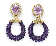 "A PAIR OF KUNZITE, AMETHYST AND DIAMOND ""TRIPHANES"" EAR PENDANTS, BY VAN CLEEF & ARPELS Each suspending a detachable amethyst bead hoop with circular-cut diamond detail, the surmount set with an oval-cut kunzite, within a circular-cut diamond surround, mounted in 18k gold, circa 1973"