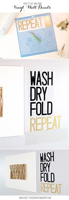 Want to make your own DIY vinyl wall decals for the laundry room, use these easy tips to cut and hang! | @kimbyers TheCelebrationShoppe.com