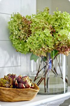 Decorating a mantel with early fall hydrangeas @Christy Palmer Decor Chick