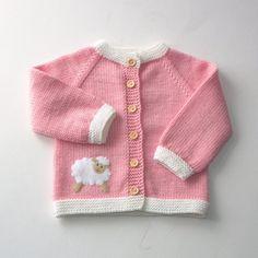 Baby Knitting Patterns combine Pink baby girl sweater with lamb merino wool jacket Baby Knitting Patterns, Crochet Baby Dress Pattern, Baby Dress Patterns, Knitting For Kids, Hand Knitting, Knitted Baby Cardigan, Knit Baby Sweaters, Girls Sweaters, Pink Cardigan