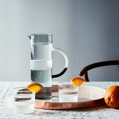 Sunrise Italian Glass Cylinder Pitcher