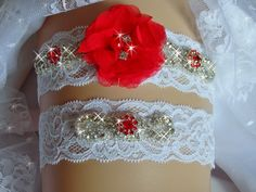 Wedding Clothing Garter Set Toss Red Jeweled Lace
