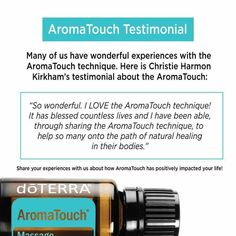 doTERRA AromaTouch massage technique blend.   www.mydoterra.com/essentialoilswithbetsy essentialoilswithbetsy@gmail.com
