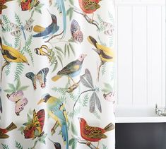 Covered with intricate artwork in a rainbow of hues, our Fauna Bird Print Shower Curtain is a whimsical addition to the bath. It coordinates with any color and with our Fauna Bedding for a complete look. Bird Shower Curtain, Vinyl Shower Curtains, Floral Shower Curtains, Pottery Barn Shower Curtain, Bird Curtains, Colorful Shower Curtain, Plywood Furniture, Furniture Design, Modern Bathroom Design
