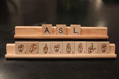 ASL Scrabble Tiles -- so cool. I want some to learn ASL. Asl Sign Language, American Sign Language, Language Classes, Language Lessons, Libra, Asl Signs, Deaf Culture, Scrabble Tiles, Cool Stuff