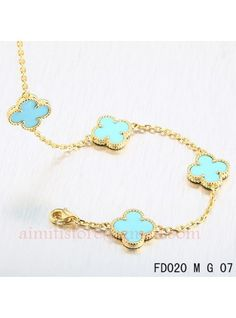 Van Cleef Arpels Vintage Alhambra 10 Turquoise Motifs Necklace Yellow Gold