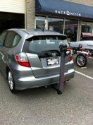 "Honda Fit with 1 1/4"" hitch and Yakima Highlite 2-bike rack. #hitchngear"