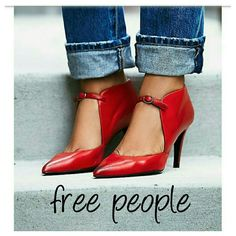 """FREE PEOPLE POPPY RED SPANISH LEATHER HEELS SOLD OUT ONLINE...FREE PEOPLE EXCLUSIVE Crafted from supple Spanish leather, these heels are perfect for a night out on the town. Featuring pointed toe and adjustable buckle accent along the top for a unique silhouette.  3.25"""" heels Retail  $148 Size 36/ 5.5-6 (75)  ❌NO LOWBALL OFFERS ❌ NO NEGOTIATING OVER COMMENT, USE OFFER BUTTON ❌ NO TRADES Free People Shoes Heels"""