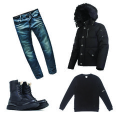 OOTD! Moose Knuckles 3Q Men's jacket with G-Star Revend Delm stretch jean in dark aged, Kuwalla Tee pullover, and Rusdak Brookhill boot!