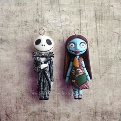 #jack #sally #tim #burton #cartoon #disney #stop #motion #fimo #polymer #clay #creazioni #franzin