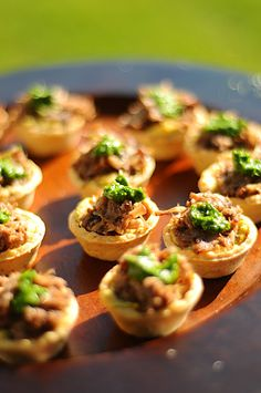 Braised Oxtail with Cilantro Pesto in a Sun Dried Tomato Tartlet